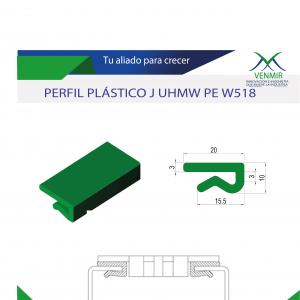 perfil plastico verde sobre fondo blanco y diseño de venmir con especificaciones