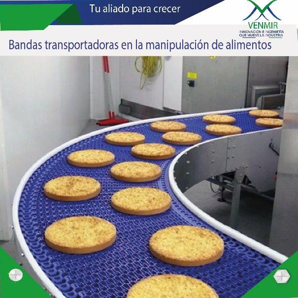 banda transportadora azul transportando pan en diseño venmir