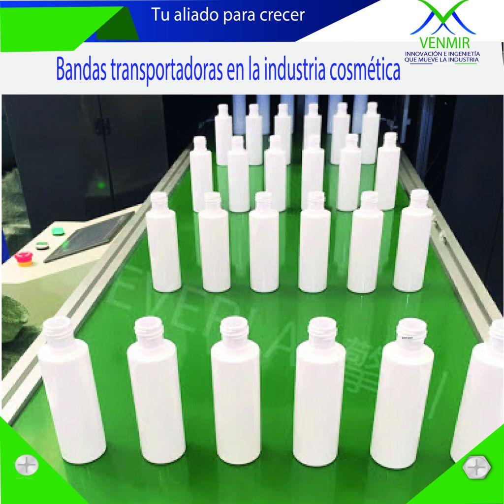banda transportadora verde con envases